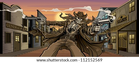 Undead Gunslinger: Town Version Vector illustration of an undead skeleton gunslinger shooting two revolvers in front an old west town with general store, saloon, feed store, hotel, gun shop, etc.