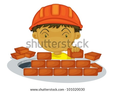 Under construction boy on white background