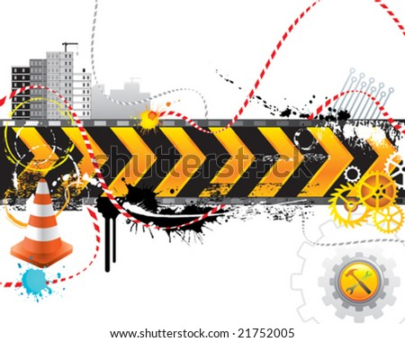 Under construction for internet web page, vector layered.