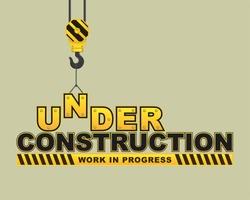 Under Construction Hanging hook Concept. flat design vector illustration