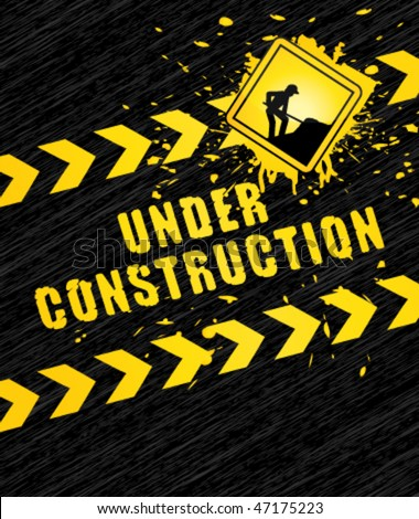 Under construction page with traffic sign. Vector background.