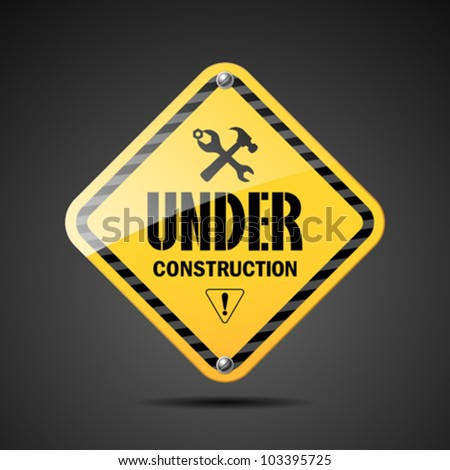 Under construction sign black and yellow on black background, vector illustration