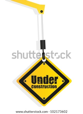under construction sign hanging hook isolated on white background