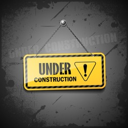 Under construction sign hanging with chain on grunge background, vector illustration