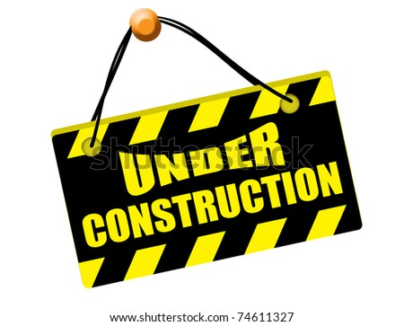 Under construction sign isolated on white background, vector illustration