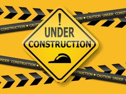 under construction sign label background vector illustration