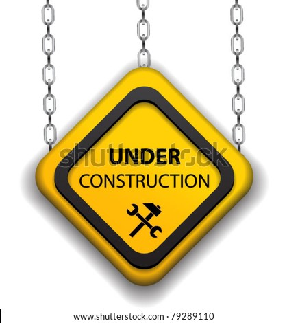 Under construction sign on chain-vector