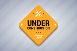 Under construction sign. Vector illustration for website.