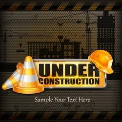 Under construction sign yellow & traffic cones, helmet on black, vector illustration,