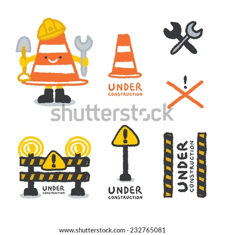 Cartoon Construction Signs Under Construction Signs Set