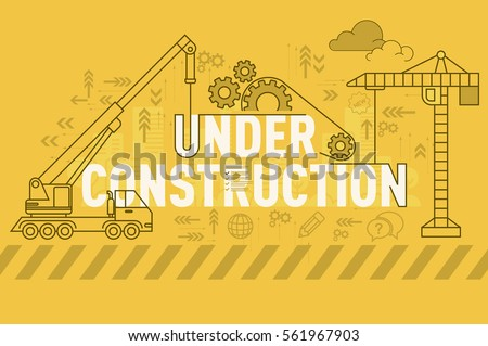 Under construction web page banner concept with thin line flat design