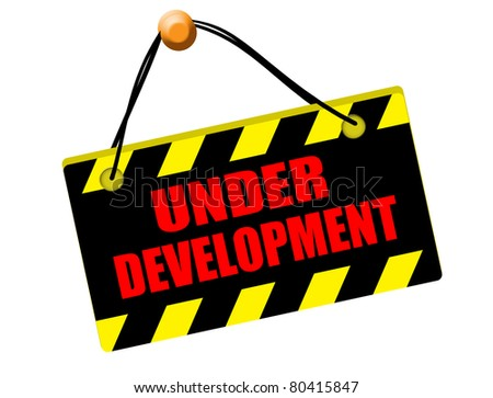 Under development sign isolated on white background, vector illustration