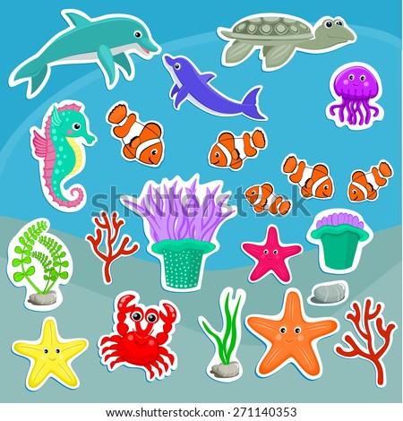 under the sea animals vector illustration cute sea creatures cartoon