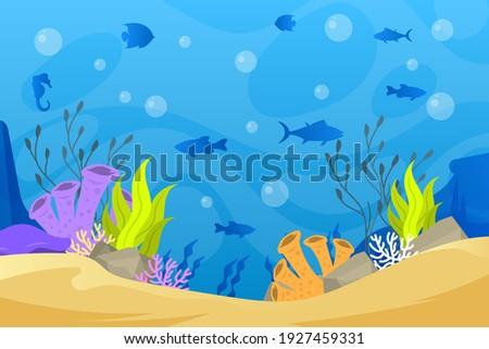 Under the sea background. Marine Life Landscape. Ocean underwater world. Ocean nature inhabitants. Silhouette ocean bottom. Marine underwater life. Sea, seascape, seafloor, undersea background. Vector