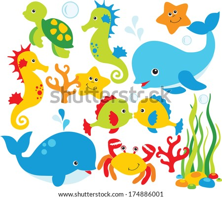 Under the sea, fish and sea-life