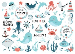 Under the sea set - cute whale, narwhal, ship, lighthouse, anchor, marine plants,  wreaths and quotes.  Perfect for scrapbooking, greeting card, party invitation, poster, tag, sticker kit.