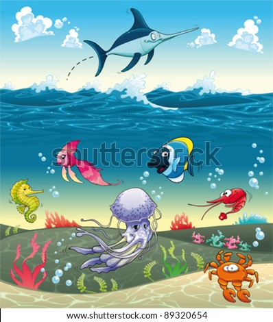 Under the sea with fish and other animals. Funny cartoon and vector illustration.