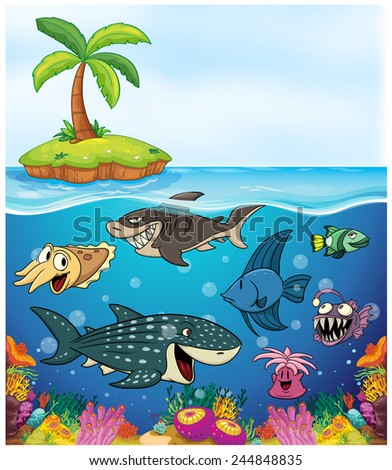 Under the sea with fish and other animals vector illustration
