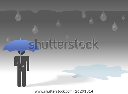Under the weather, a sad symbol person under an umbrella and falling raindrops beside a puddle on a gloomy rainy day.