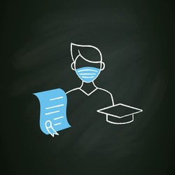 Undergraduate student chalk icon. Personal growth. Education process. Bachelor degree. Person studying. Professional development. Isolated vector illustration on chalkboard