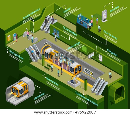 Underground infographic isometric set with metro station symbols vector illustration