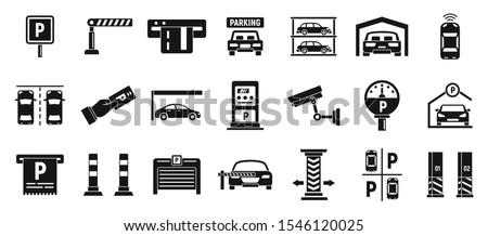 underground parking icons set
