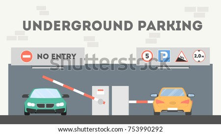 underground parking lot cars