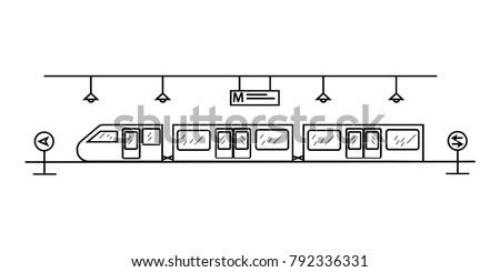 Underground railway metro station icon