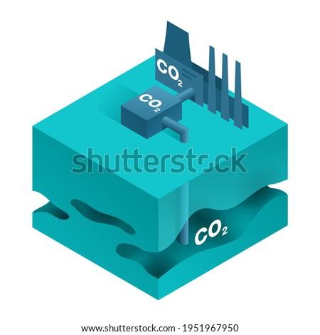 Underground Storage of CO2 - Carbon Dioxide Capture, Utilization and Storage Technologies. Isometric vector illustration