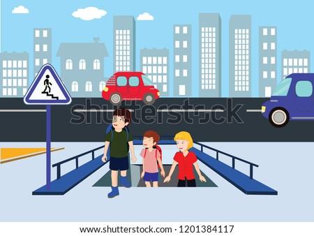 underpass, footbridge, overpass, children using pedestrian crossing. lower bridge. underpass vector illustration, lower pedestrian crossing, crosswalk