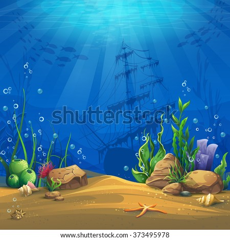 Undersea. Marine Life Landscape - the ocean and the underwater world with different inhabitants. For design websites and mobile phones, printing.