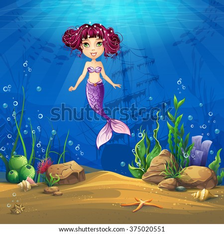 undersea with brunette mermaid