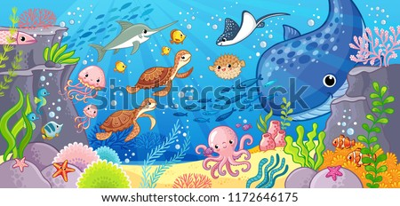 Undersea world. Cute cartoon animals underwater. Vector illustration on a sea theme.