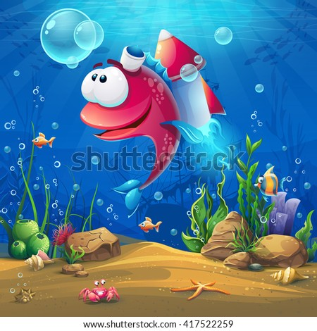 Undersea world with funny fish. Marine Life Landscape - the ocean and the underwater with different inhabitants. For design websites and mobile phones, printing.