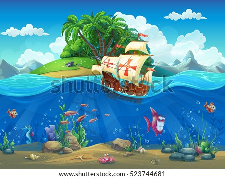 Undersea world with island and sailing ship. Marine life landscape - the ocean and the underwater world with different inhabitants. For design websites and mobile phones, printing.