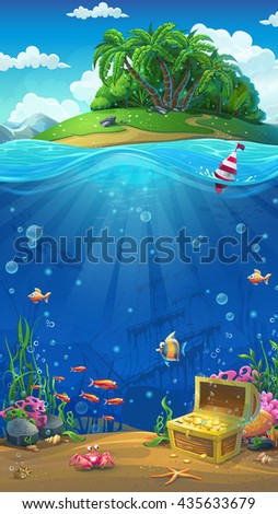 Undersea world with island mobile format. Marine life landscape - the ocean and the underwater world with different inhabitants. For design websites and mobile phones, printing.