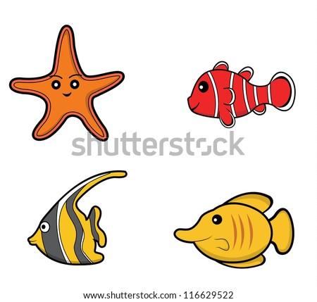 underwater animal set starfish