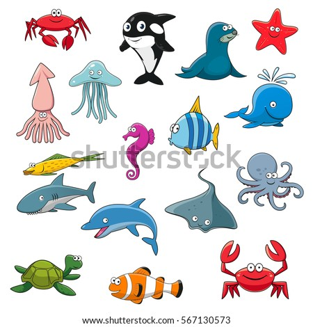 underwater animals set sea