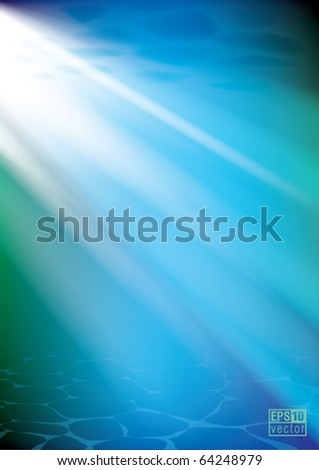 Underwater background, sunshine through the water, eps10 vector