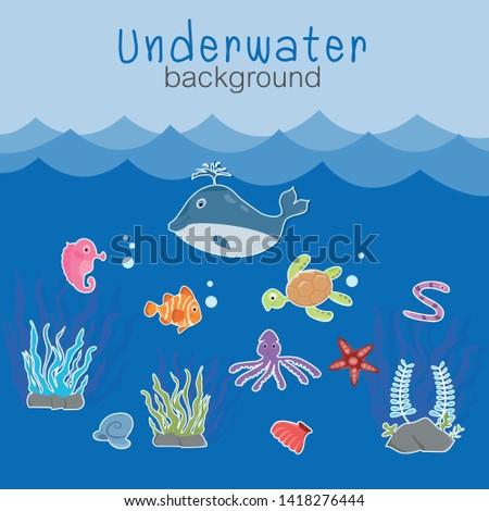 Underwater background with caricatures of aquatic animals Vector.