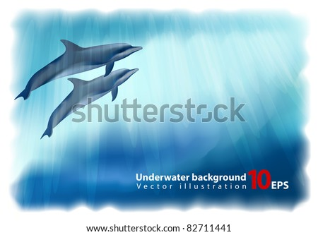 Underwater background with dolphins. Vector illustration. Simulating watercolor drawing.