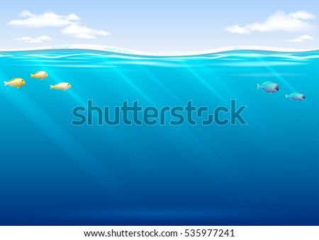 Stock Photo Underwater background with tropical fish and sky in vector graphics. Blue waves and transparent rays