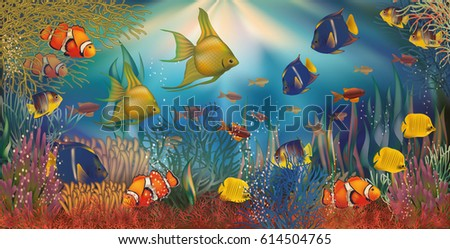 Shutterstock Underwater background with tropical fish, vector illustration