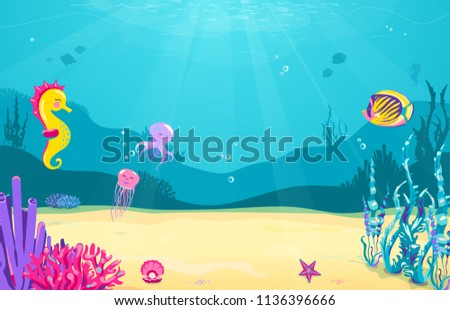 Underwater cartoon background with fish, sand, seaweed, pearl, jellyfish, coral, starfish, octopus, sea horse Ocean sea life cute design Vector illustration