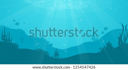 Underwater cartoon flat background with fish silhouette, seaweed, coral. Ocean sea life, cute design. Vector illustration
