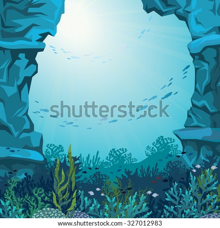 underwater cave and coral reef