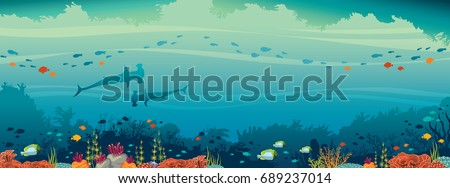 underwater cave and marine wild