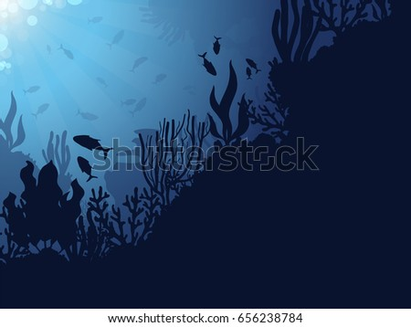 Underwater Coral Reef Background with Fishes.