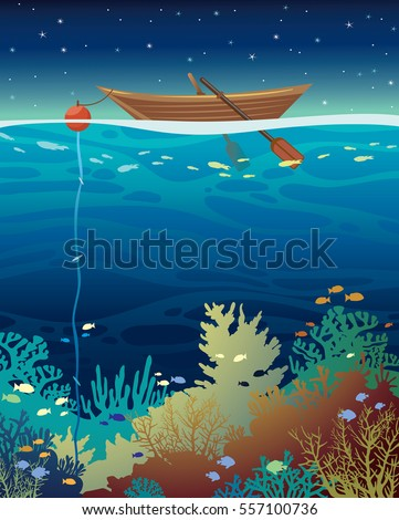 underwater coral reef with