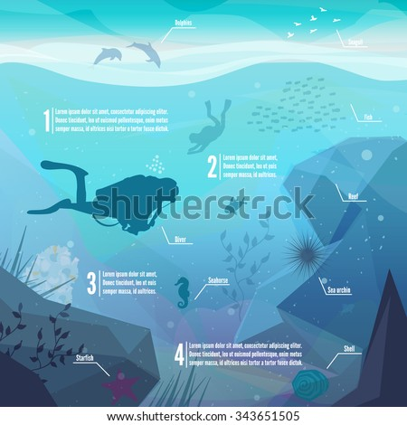 Underwater diving infographics. Landscape of marine life - Island in the ocean and underwater world with different animals. Low polygon style flat illustrations. For web and mobile phone,print.